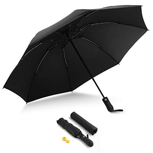 HITSLAM RegenschirmSturmfest, Teflon-Beschichtung, SchirmstnderRegenschirm, WindfesterRegenschirm mit Auf-Zu-Automatik, Windsicher, Stabil (Schwarz)