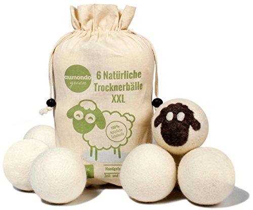 aumondo Trocknerbälle für Wäschetrockner - 6 XXL Extragroße Filzbälle aus Schafwolle, der natürliche Weichspüler. Ideal für Daunenjacken. Dryer Balls...