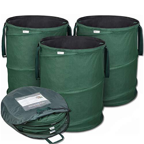 Glorytec Pop-Up Gartensack 3 x 158 Liter - Selbstaufstellende Gartenabfallsäcke aus extrem robustem Polyester Oxford 600D - langlebiges Laubsack Set mit noch...