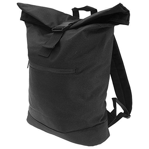 Bagbase Unisex Roll Top Backpack / Rucksack Black
