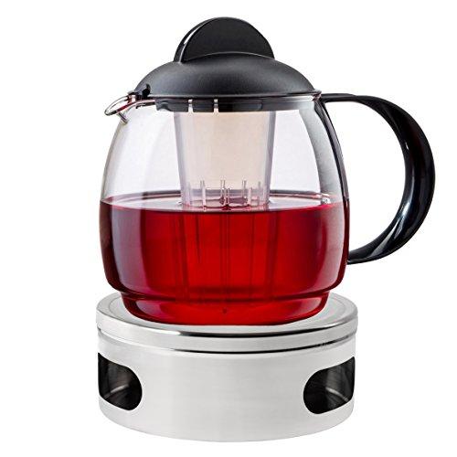 Boral Teekanne mit Stövchen Set'Classic' 1,8 l Teekanne aus Glas mit Siebeinsatz und Teewärmer aus Edelstahl Ø 15 cm