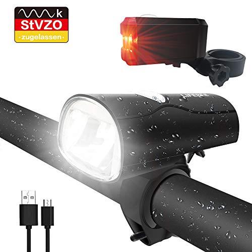 LIFEBEE LED Fahrradlicht, LED Fahrradbeleuchtung StVZO Zugelassen USB Wiederaufladbare Frontlicht und Rücklicht Set, Fahrradlampe, 2 Licht-Modi, Fahrradlichter mit...