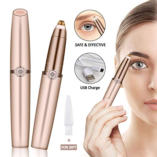 Eyebrow Trimmer USB, Charminer Eyebrow Shaving Rechargeable Painless Eyebrow Trimmer Built-in Bright Eyebrows Hair Remover Led Light Sharp & ...