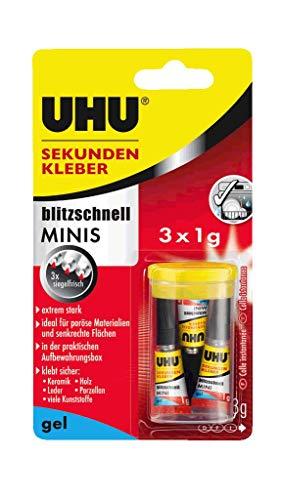 UHU Sekundenkleber Gel Minis, Extrem starker, gelförmiger Sekundenkleber - 3 Minis in einer praktischen Aufbewahrungsbox, Optimale Qualität bei jeder Anwendung, 3...