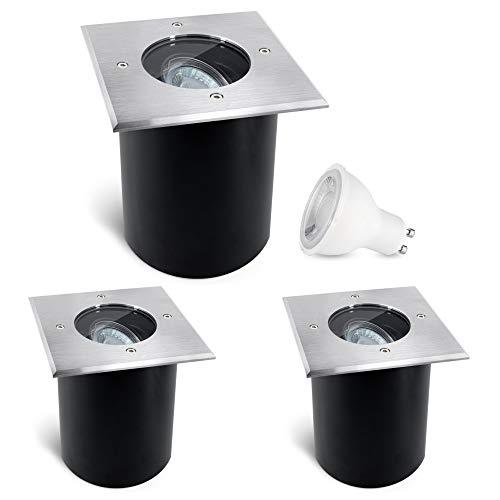 3 Stück SSC-LUXon JUAVI Bodeneinbaustrahler schwenkbar IP67 - LED GU10 3W warmweiß 230 V - Bodenspot quadratisch befahrbar