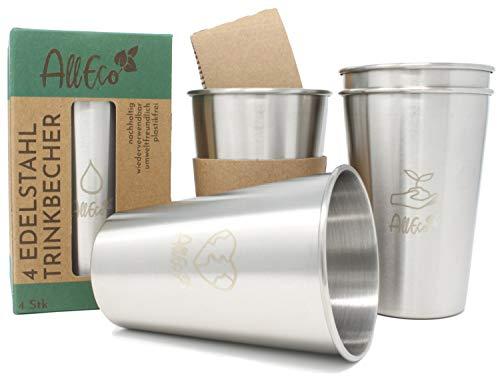 AllEco® Edelstahl Becher 4er Set 350ml Trinkbecher Metall Kinder Camping Outdoor 12oz stapelbar - nachhaltig, wiederverwendbar, plastikfrei & Zero Waste (350ml)