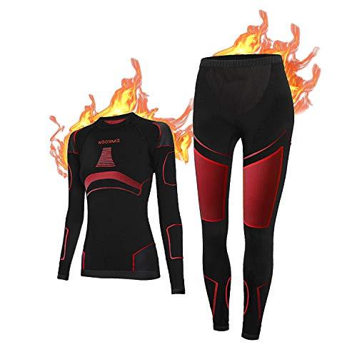 NOOYME Thermounterwäsche Damen Atmungsaktiv und Thermowäsche Set Funktionswäsche Damen Anti-bakteriell und Flexibel Skiunterwäsche Damen Warme Unterwäsche für...