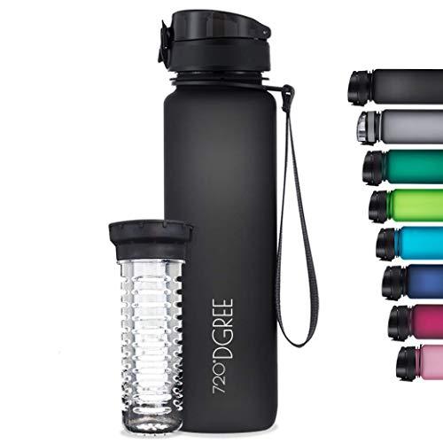 """720°DGREE Trinkflasche """"uberBottle"""" softTouch +Früchtebehälter - 1L - BPA-Frei - Wasserflasche für Uni, Sport, Fitness, Fahrrad, Outdoor - Sportflasche aus..."""