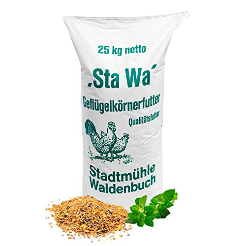 StaWa Hühnerfutter Geflügelkörnerfutter Körnerfutter, ohne Gentechnik, mit Oregano Öl, 25 kg