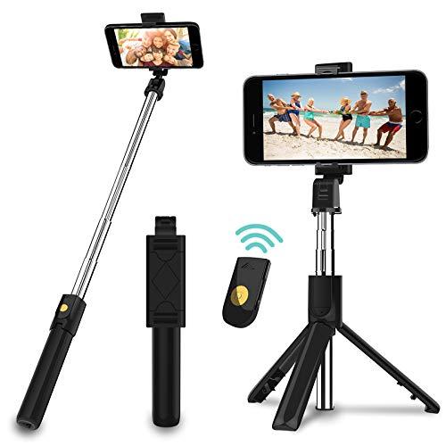 SYOSIN Selfie Stick Stativ, 3 in 1 Mini Selfiestick mit Bluetooth-Fernauslöse Handy Erweiterbarer Selfie-Stange und Tragbar Monopod Handyhalter für...