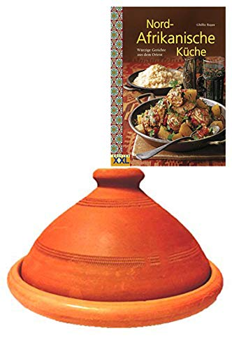 Tajine, original aus Marokko, inklusive Kochbuch Nord Afrikanische Küche, Tontopf zum Kochen, Tuareg Ø 30cm, für 4-5 Personen, handgetöpfert aus Marrakesch, frei...