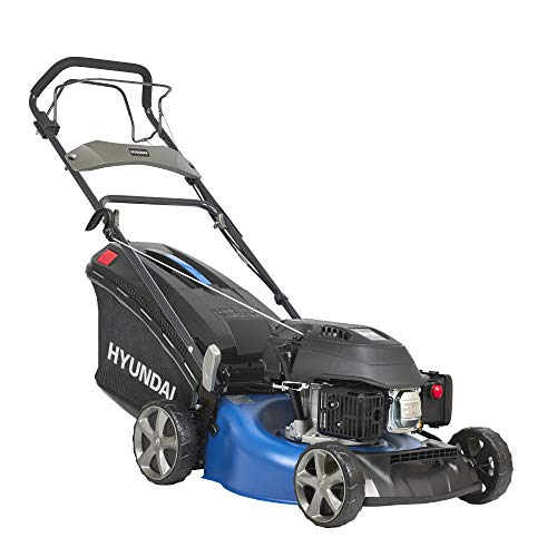 HYUNDAI petrol lawn mower, petrol mower with wheel drive / self-propulsion, mulcher / mower with mulching function, 46cm cutting width and 3.5 PS Hyundai engine (LM4602G without ...