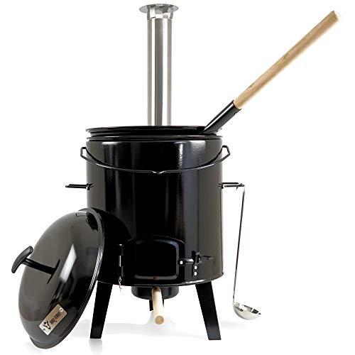 BBQ-Toro Gulaschkanone | Gulaschkessel | Eintopfofen | Ungarischer Kesselgulasch Topf 17 Liter emailliert mit Deckel für die Outdoor Küche Feldküche