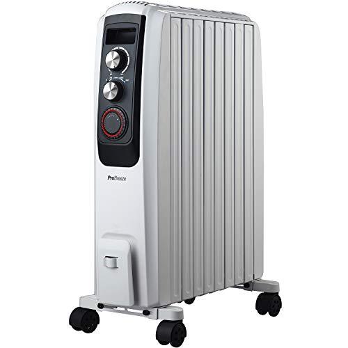Pro Breeze 2000W Ölradiator - elektrischer, energiesparender Heizkörper mit 8 Rippen, integrierter Zeitschaltuhr, 3 Heizstufen, regulierbaren Thermostat und...