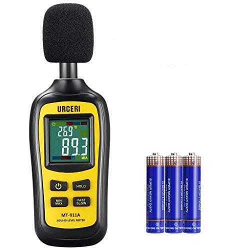 URCERI Schallpegelmessgerät, Digital Sound Level 35dB-135dB Meter Lärm-/ db-Messgerät mit Max/Min/Haltedaten, Temperaturmesser -20 ° C ~ 70 ° C / -4 ° F ~ 158...