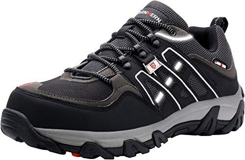 LARNMERN Sicherheitsschuhe Arbeitsschuhe Herren, Sicherheit Stahlkappe Stahlsohle Anti-Perforations Luftdurchlässige Schuhe (43 EU, Schwarz)