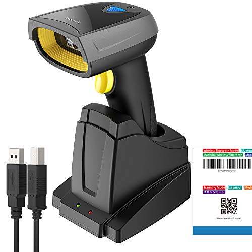 Inateck 2D barcode scanner Bluetooth, wireless QR code scanner with intelligent charging station, 2D imager with 2000 mAh battery, 1 charge 30 days duration, screen ...