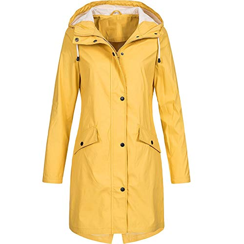 iHENGH Damen Frühling Herbst Mantel bequem Solide Regenjacke Outdoor Jacken Wasserdicht mit Kapuze Regenmantel Winddicht Parka Coat