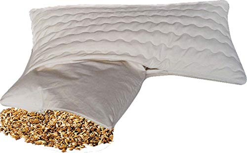 BIO Dinkelkissen Komfort 40 x 80 cm staubdichte Baumwoll Kissenhülle ( Kissen-Inlett ) - mit BIO Dinkelspelz / Dinkelspreu Füllung und abnehmbarem waschbarem...