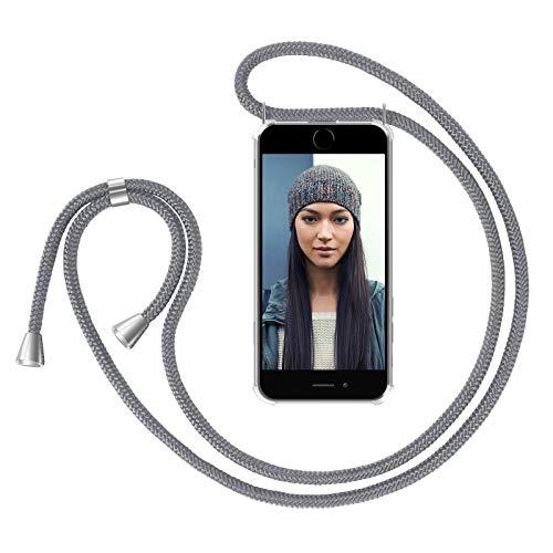 ZhinkArts Handykette kompatibel mit Apple iPhone 7 / iPhone 8-4,7' Display - Smartphone Necklace Hülle mit Band - Schnur mit Case zum umhängen in Grau