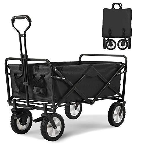 Bear family Faltbarer Bollerwagen klappbar Handwagen mit Bremsen, Transportwagen Strandwagen Transportkarre Gartenanhänger Gartenwagen, 360 ° drehbar, belastbar...