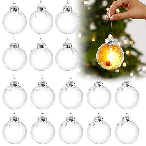 Sporgo Klar Weihnachtskugeln,16 Stück Durchsichtige Kunststoffkugeln DIY Weihnachtskugeln Deko Baumschmuck Hängender Kugel Befüllbare,Transparent Weihnachtsbaum...