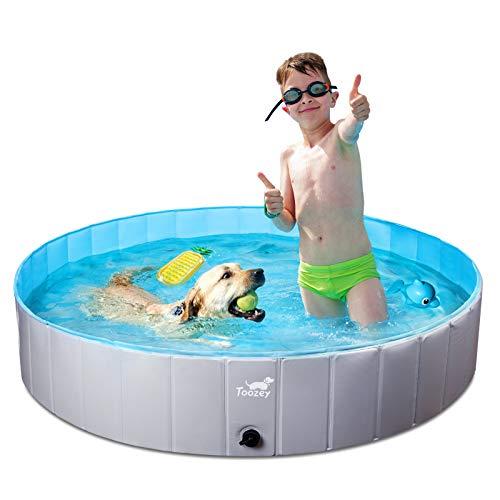 Toozey Hundepool für Große & Kleine Hunde, 80cm / 120cm / 160cm Faltbare Hunde Pools, Planschbecken für Kinder und Hunde, Hundebadewanne, 100% Sicher &...