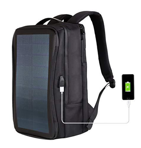 Outdoor-Tasche, Solar-Rucksack, flexibles Solarpanel, 14 W, Tagesrucksack, Laptop-Tasche mit Griff und USB-Ladeanschluss, Freizeit-Rucksäcke für Herren Gr....