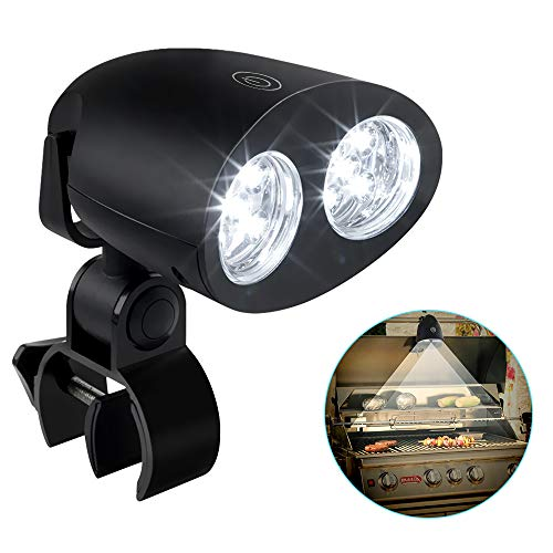CestMall LED BBQ Grill-Lampe 360 Grad schwenkbar Grill-Licht Grill-Leuchte Schraub-Befestigung Touch-Sensor Schalter Grill-Beleuchtung Light für Batterie betrieben...