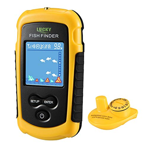 LUCKY Fischfinder Wireless Farbe Tragbarer Portable Angeln Sonar Sensor LCD Tiefe Finder Echolot