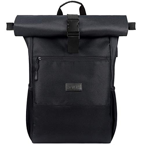 RJEU Laptop Rucksack für 17 Zoll,Rolltop Rucksack Herren Damen,Laptoptasche mit USB-Ladebuchse für Schule,Studium,Reisen, Schulrucksack(Schwarz-26L)