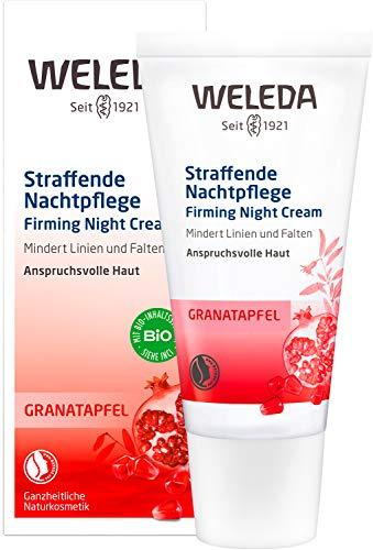 WELEDA Granatapfel straffende Nachtpflege, reichhaltige Naturkosmetik Hautcreme mit aufbauenden Nährstoffen, Gesichtspflege für höhere Elastizität und Spannkraft...