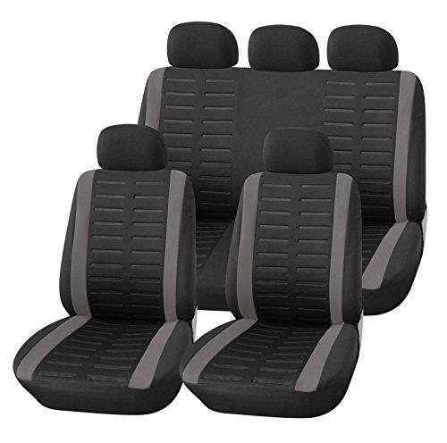 Upgrade4cars Auto-Sitzbezüge Set Universal Auto-Schonbezüge Schwarz Grau mit Teilbarer Rückbank Auto-Zubehör Innenraum