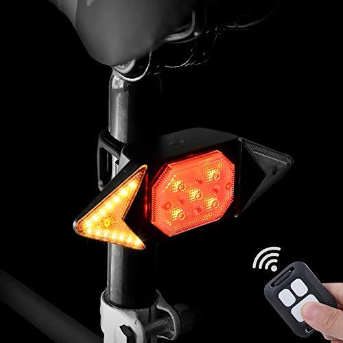 Fahrrad Blinker mit Funkfernbedienung, WASAGA Rücklicht für Fahrrad Rücklicht mit Blinker zum Radfahren, 5-Licht-Modus-Rücksicherheits-Warnblitzlicht