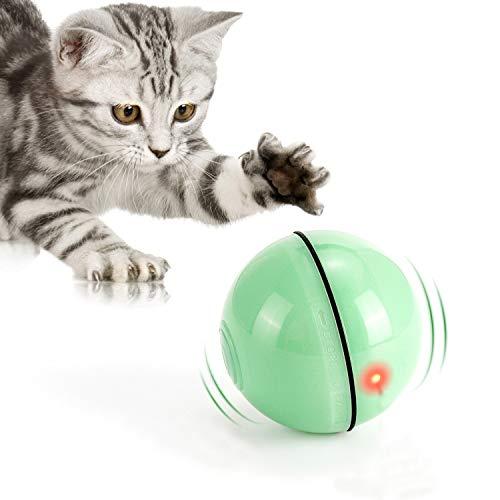 WWVVPET Interaktives Katzenspielzeug Ball mit LED-Licht, selbstdrehender 360-Grad-Ball, wiederaufladbares interaktives USB-Katzenspielzeug, zur Stimulierung des...