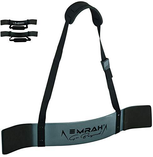 EMRAH Bizeps Isolator, Arm Blaster für Bodybuilding, Kraftsport, Gewichtheber gürtel Herren - Bizepstrainer, Armtrainer (Metallgrau)