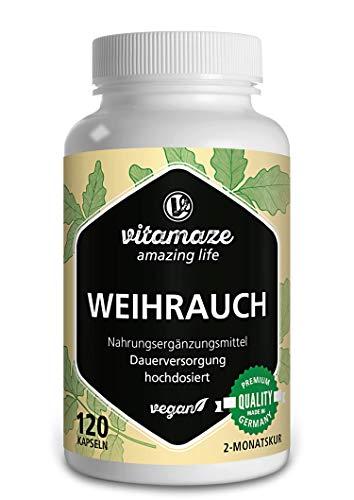 Weihrauch Kapseln hochdosiert & vegan, 900 mg Extrakt pro Tagesdosis, 85% Boswellia-Säure, 100% indischer Boswelia Serrata, 120 Kapseln für 2 Monate, Ohne...