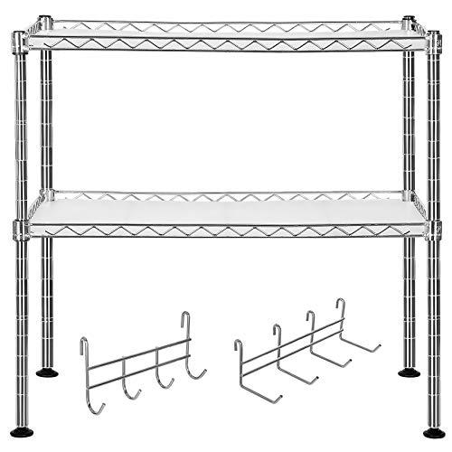 SONGMICS Küchenregal Mikrowellenhalter Super Stahlqualität, Breite 60 cm, belastbar mit max. 80 kg, Gewürzregal Verchromt, mit 8 Haken 2 Ablagen für kleine...