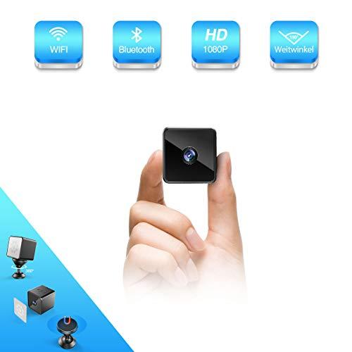 Bluetooth WLAN Mini Kamera, MHDYT HD 1080PWiFi Akku Überwachungskamera, KleineNanny Cam mitBewegungsmelder, InfrarotNachtsichtundBluetooth Lautsprecher,...