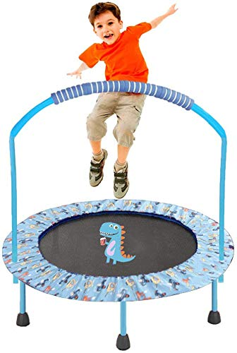 LBLA ø 38 inch trampoline, with adjustable handrail and padded cover, mini foldable, children's trampoline indoor with handle (110 KG)