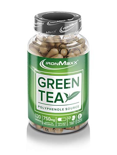 IronMaxx Green Tea – Grüner Tee Extrakt – hochdosiert mit 750mg pro Kapsel und 2250mg pro Tagesdosis – mit Polyphenolen, Catechin, EGCG und Koffein – 130...