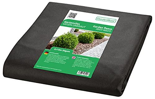 GardenMate 2mx10m Gartenvlies 50g/m² - Unkrautvlies Reißfestes Unkrautschutzvlies - Hohe UV-Stabilisierung - Wasserdurchlässig - 2mx10m=20m²