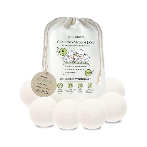 hauszauber - Öko Trocknerbälle für Wäschetrockner [6er Set XXL] - Nachhaltige Produkte aus 100% Schafwolle - Natürlicher Weichspüler ideal für Daunen - Zero...
