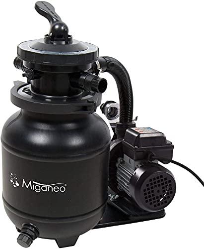 Miganeo® Speed Clean 7000 Sandfilter mit Zeitschaltuhr für Pool bis 22m³ selbstsaugend (Schwarz)