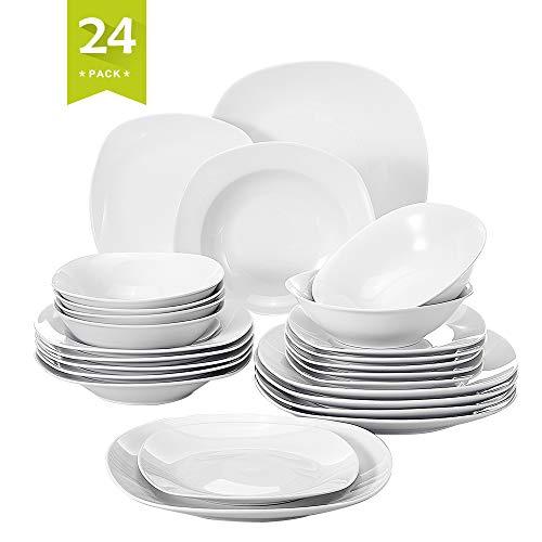 MALACASA, Serie Elisa, 24 teilig Set Porzellan Tafelservice Kombiservice Geschirrset mit je 6 Speiseteller, 6 Dessertteller, 6 Suppenteller, 6 Schüsseln für 6...