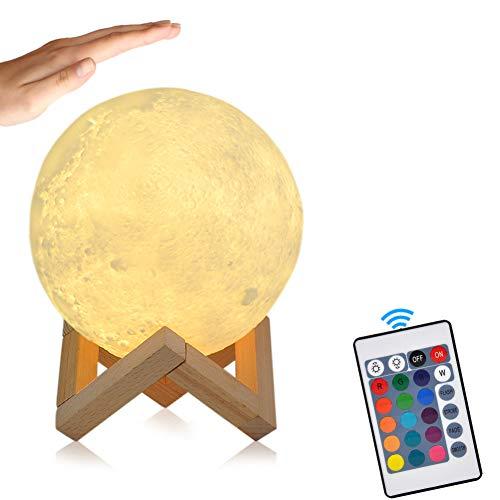 15cm LED Mond Lampe mit Fernbedienung Farbige Dekoleuchte 3D Mond Kunst LED RGB Mondlicht tragbares Nachtlicht mit Schlagschalter eingebaute Batterie dimmbar, 16...