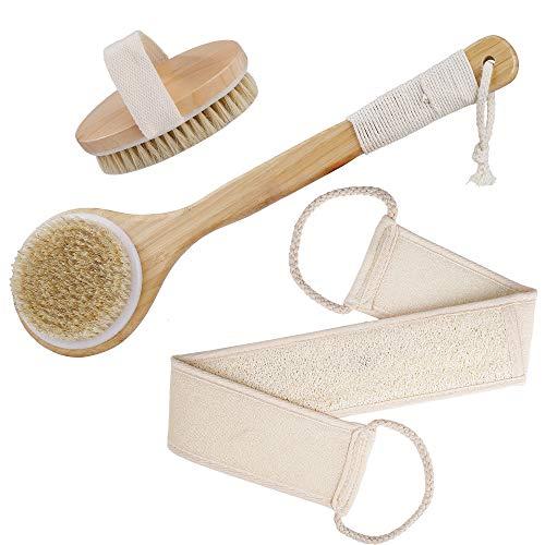 Badebürste Rückenbürste Körperbürste mit Langem Stiel, Trockenbürste mit Bambus Natur, Luffaschwamm Rückenschrubber für Durchblutung und Peeling Massage...