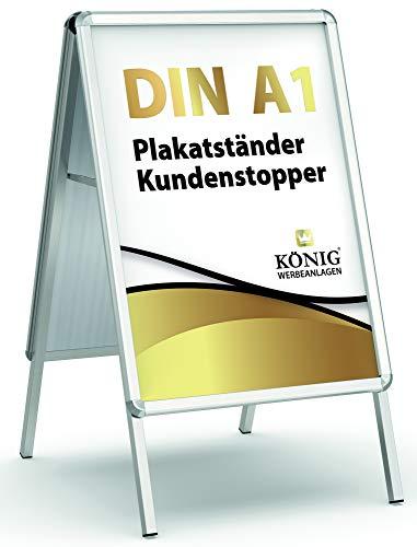 Plakatständer Keitum DIN A1 silber | beidseitig für 2 Plakate | Rückwand aus verzinktem Stahlblech | entspiegelte Schutzscheiben | wetterfest | Kundenstopper...