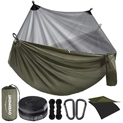 Overmont Doppelschichtige Hängematte mit Moskitonetz TÜV-Zertifiziert 400kg Tragfähigkeit, Outdoor Atmungsaktiv Hängematten für Camping Reise Trekking Garten,...