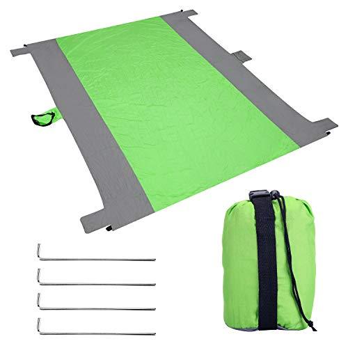 EKKONG Picknickdecke, Wasserdicht Stranddecke 213x275 cm Ultraleicht & kompakt Strandmatte Sandfrei Ground Sheet Tarp mit 4 Pfosten und Tasche für den Strand,...